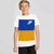 NK Crew Neck Single Jersey Short Sleeve Long Tee Shirt For Boys-White with Blue & Yellow Panels-BE11965