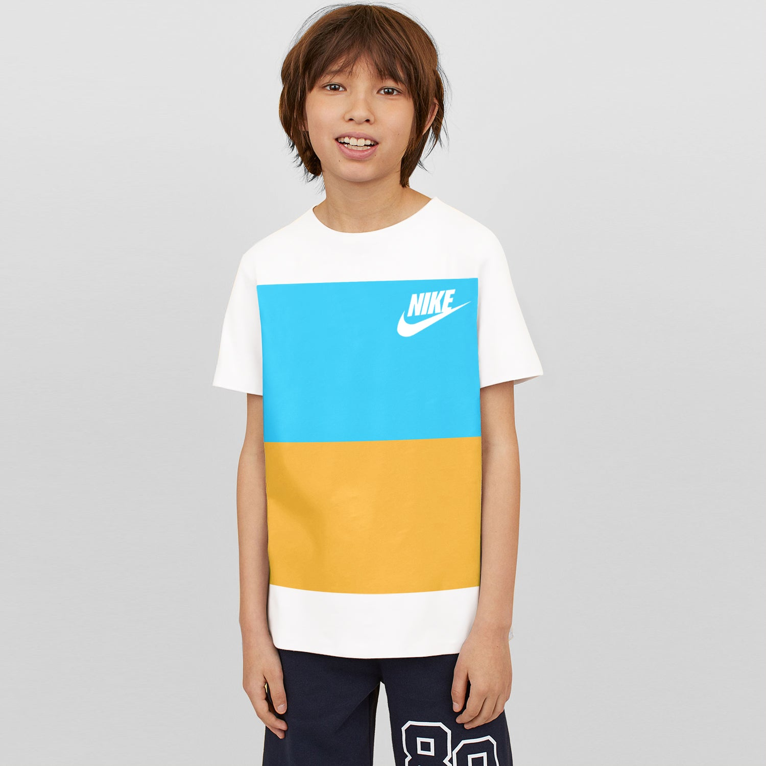 NK Crew Neck Single Jersey Short Sleeve Long Tee Shirt For Boys-White with Cyan Green & Yellow Panels-BE11964