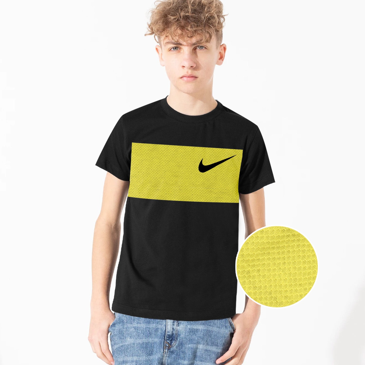 NK Crew Neck Single Jersey Tee Shirt For Kids-Black & Texture Yellow Panels-BE12416