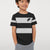 NK Crew Neck Single Jersey Tee Shirt For Kids-Black with Grey Melange Panels-BE12035