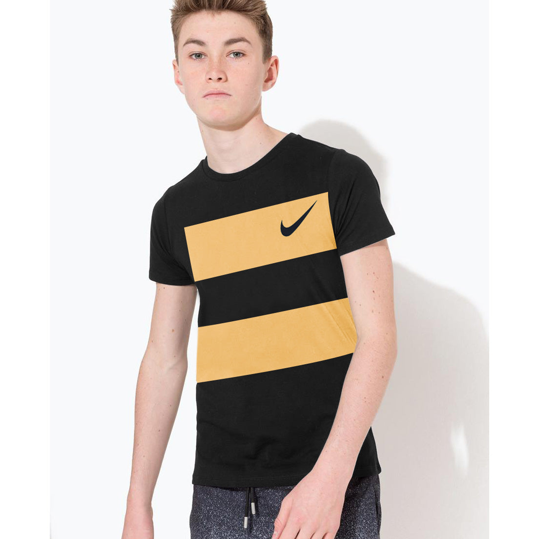 NK Crew Neck Single Jersey Tee Shirt For Kids-Black & Blaze Yellow Panels-BE12409
