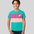NK Crew Neck Single Jersey Tee Shirt For Kids-Cyan Green with Dark Pink & Skin Panels-BE12064