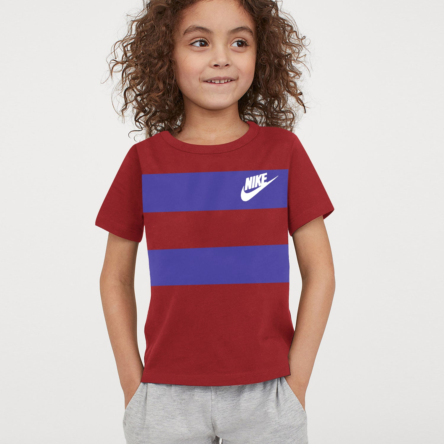NK Crew Neck Single Jersey Tee Shirt For Kids-Dark Red with Blue Panels-BE12069