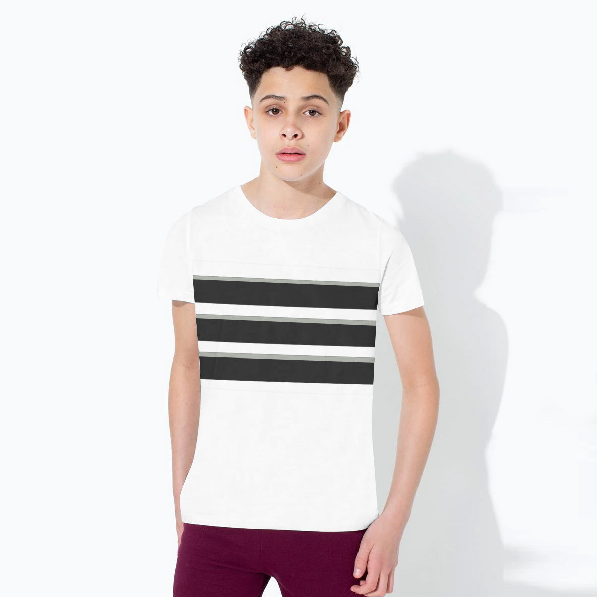 NK Crew Neck Single Jersey Tee Shirt For Kids-White & Black Panels-BE12417