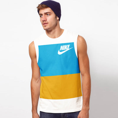 NK Crew Neck Sleeveless For Men-White with Cyan Green & Yellow Panels-BE11967