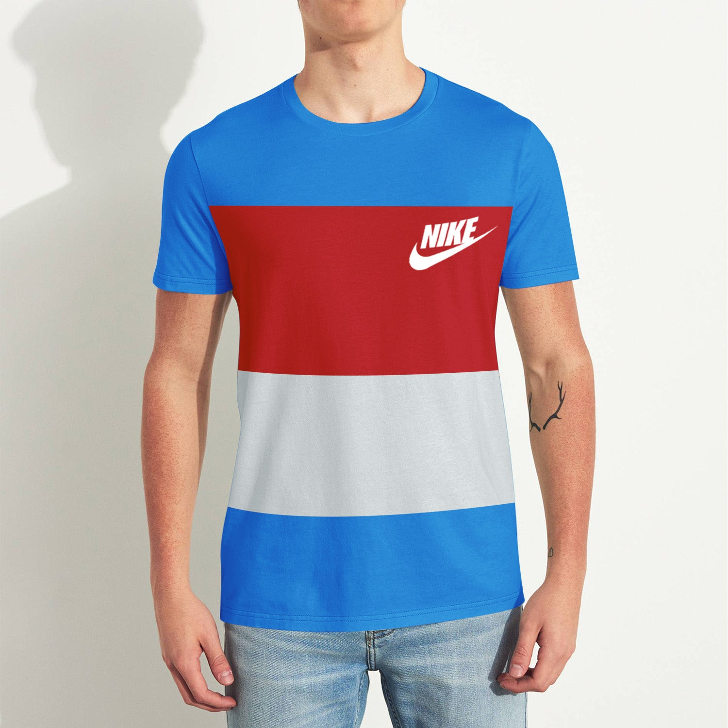 NK Crew Neck Tee Shirt For Men-Sky with Panels-BE11833
