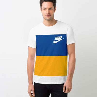 NK Crew Neck Tee Shirt For Men-White with Blue & Yellow Panels-BE11966