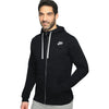 NK Fleece Black Melange with White Embroidery Zipper Hoodie For Men-Black Melange-BE10328