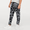 NK Fleece Black & White Embroidery Jogger Trouser For Kids-Allover Print-BE10345