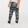 NK Fleece Black & White Embroidery Jogger Trouser For Kids-Allover Print-SP1185