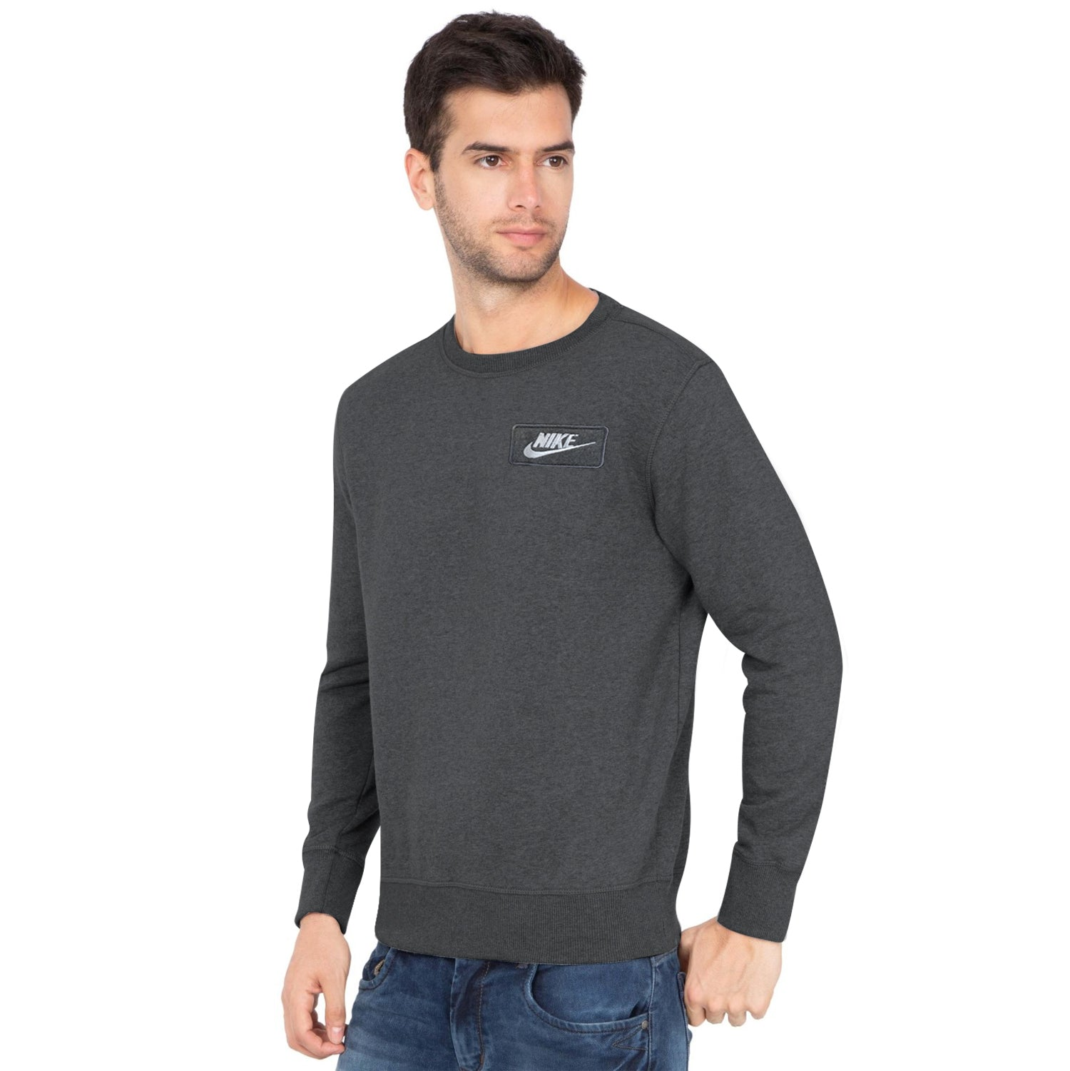 NK Fleece Charcoal Melange & White Embroidery Sweatshirt For Men-Charcoal Melange-BE10340