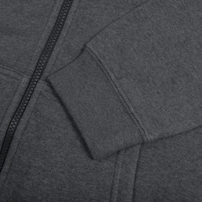 NK Fleece Charcoal Melange with White Embroidery Zipper Hoodie For Men-Charcoal Melange-BE10330