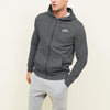NK Fleece Charcoal Melange with White Embroidery Zipper Hoodie For Men-Charcoal Melange-BE10752