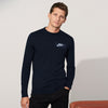 NK Fleece Dark Navy with White Embroidery Sweatshirt For Men-Dark Navy-BE10225