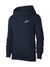 NK Fleece Funnel Neck Pullover Hoodie For Men-Mid Navy With White Embroidery-BE13643