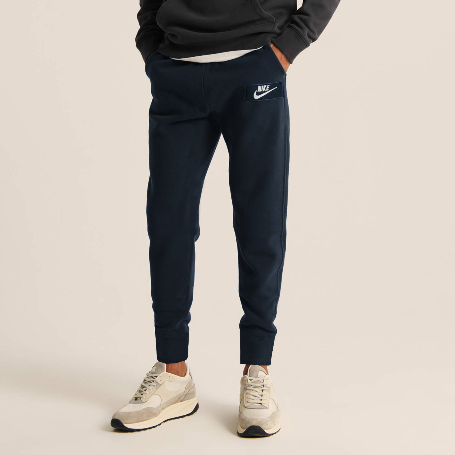 NK Fleece Gathering Fit Pant Style Jogging Trouser For Men-Dark Navy with White Embroidery-BE12842