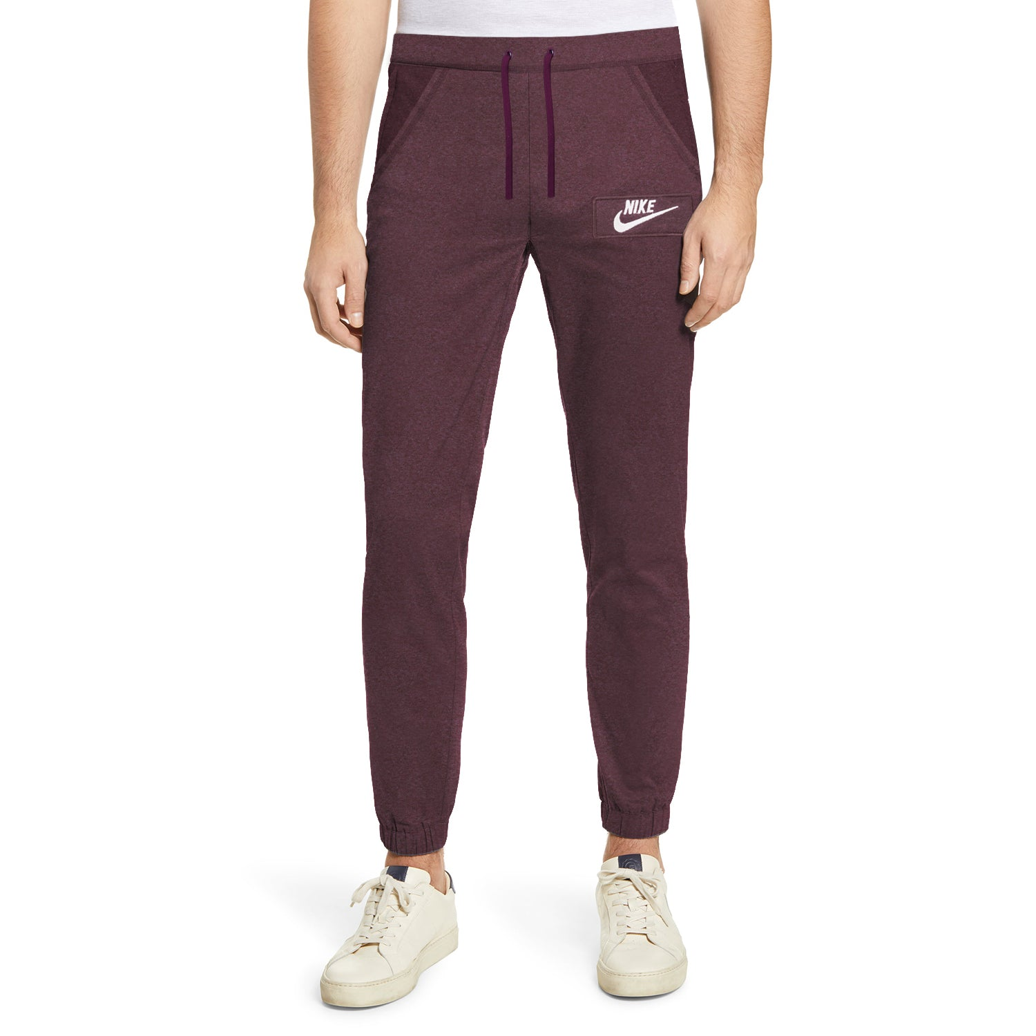NK Fleece Gathering Fit Pant Style Jogging Trouser For Men-Burgundy Melange with White Embroidery-BE12956