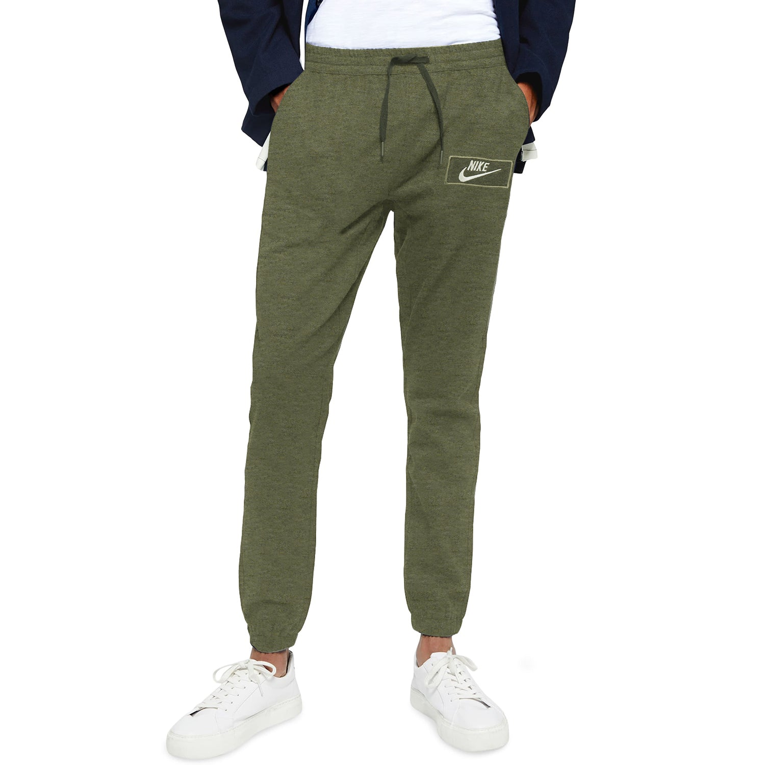 NK Fleece Gathering Fit Pant Style Jogging Trouser For Men-Olive Melange with White Embroidery-BE12892