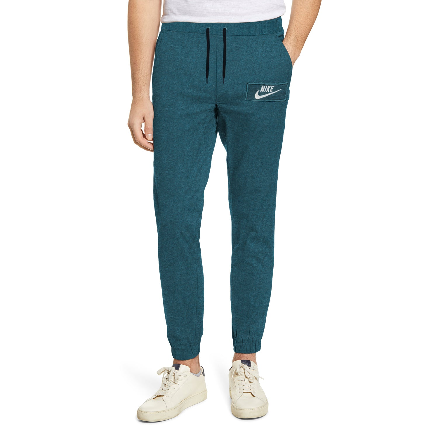 NK Fleece Gathering Fit Pant Style Jogging Trouser For Boys-Prussian Blue Melange with White Embroidery-BE12942