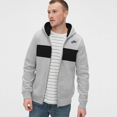 NK Fleece Grey Melange & Navy Embroidery Zipper Hoodie For Men-Grey Melange-BE10337