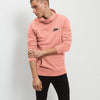 NK Fleece Navy with Coral Pink Embroidery Pullover Hoodie For Men-Coral Pink-BE11688