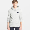 NK Fleece Off White Melange & Navy Embroidery Pullover Hoodie For Men-Off White Melange-BE10251