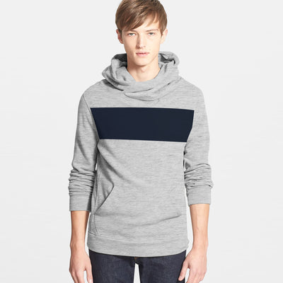 New Stylish Fleece Funnel Neck Pullover Hoodie For Men-Grey Melange With Dark Navy Panels-SP1650
