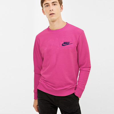 NK Fleece Pink & Navy Embroidery Sweatshirt For Men-Pink-BE10571
