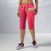 NK Fleece Printed Logo Capri For Ladies-Coral Pink-BE11005