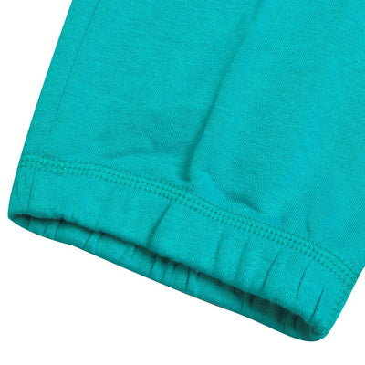 NK Fleece Printed Logo Capri For Ladies-Dark Cyan Green-SP1643