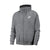 NK Fleece Shawl Collar Zipper Hoodie For Men-Charcoal Melange with White Embroidery-BE12989