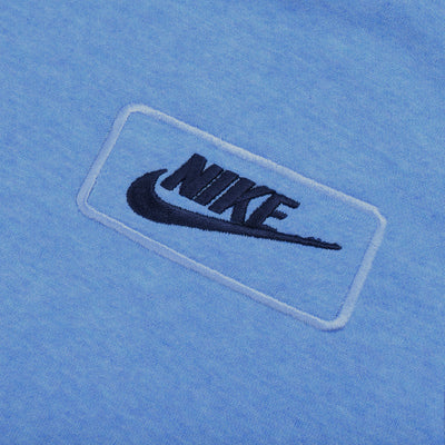 NK Fleece Sky Blue Melange & Navy Embroidery Pullover Hoodie For Men-Sky Blue Melange-BE10314