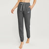 NK Fleece Slim Fit Charcoal Melange & White Embroidery Trouser For Ladies-Charcoal Melange-BE10754