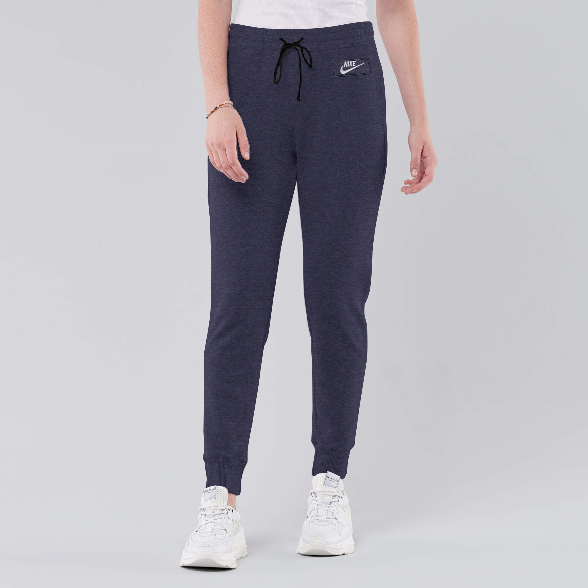 NK Fleece Slim Fit Jogger Trouser For Ladies-Light Blue Melange With White Embroidery-AN1956