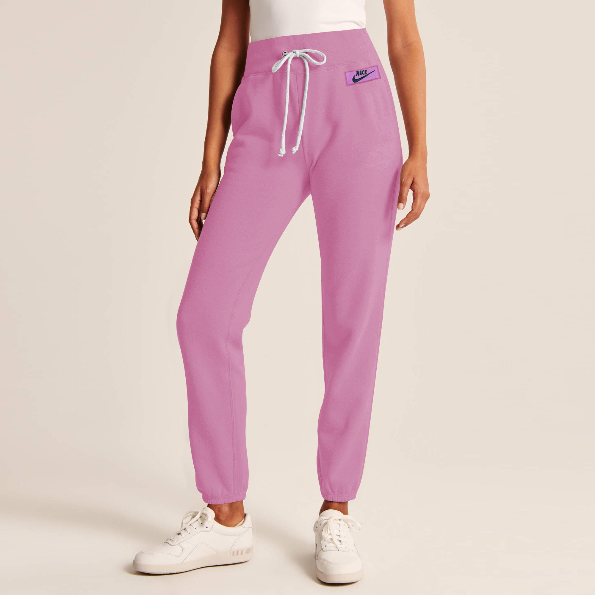 NK Fleece Slim Fit Jogger Trouser For Ladies-Light Pink With Navy Embroidery-AN1970