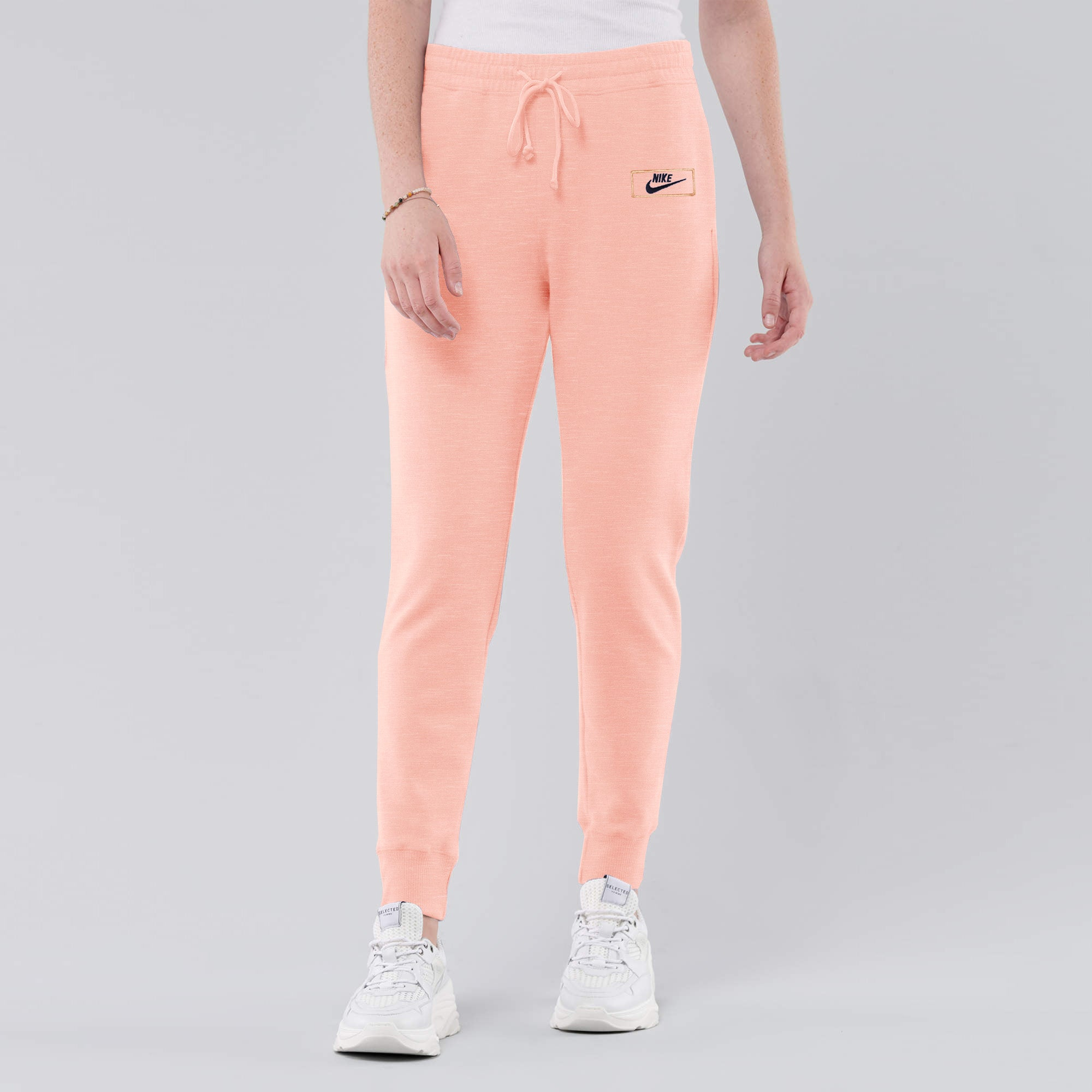 NK Fleece Slim Fit Jogger Trouser For Ladies-Peach Melange With Navy Embroidery-AN1969