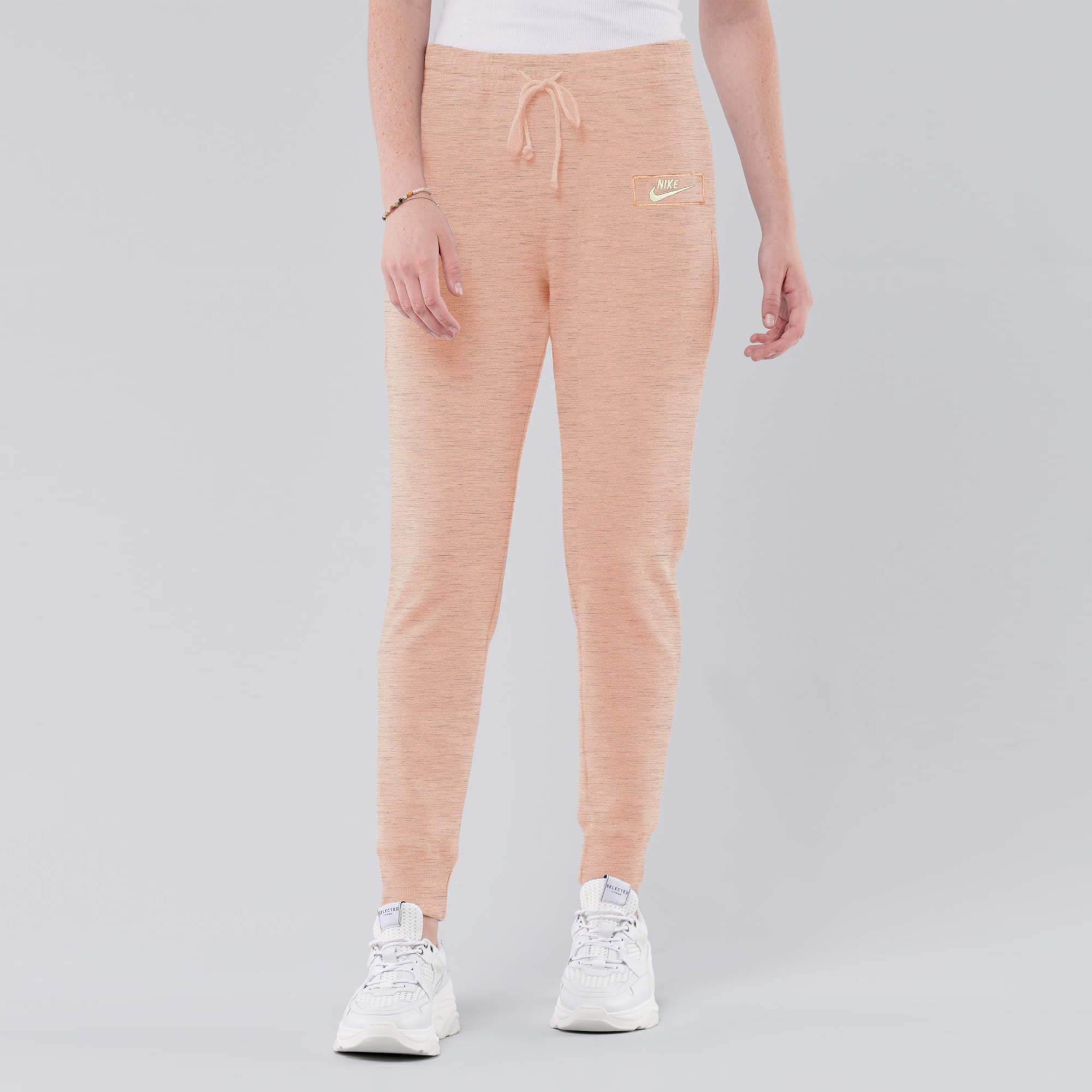 NK Fleece Slim Fit Jogger Trouser For Ladies-Peach Melange With White Embroidery-AN1977