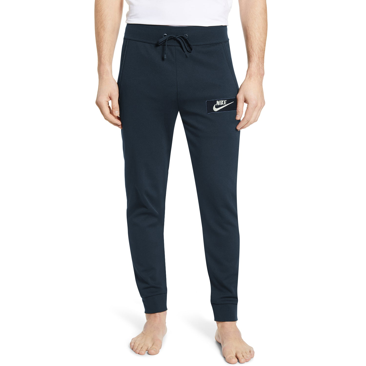NK Fleece Slim Fit Pant Style Jogging Trouser For Men-Dark Navy with White Embroidery-BE12843