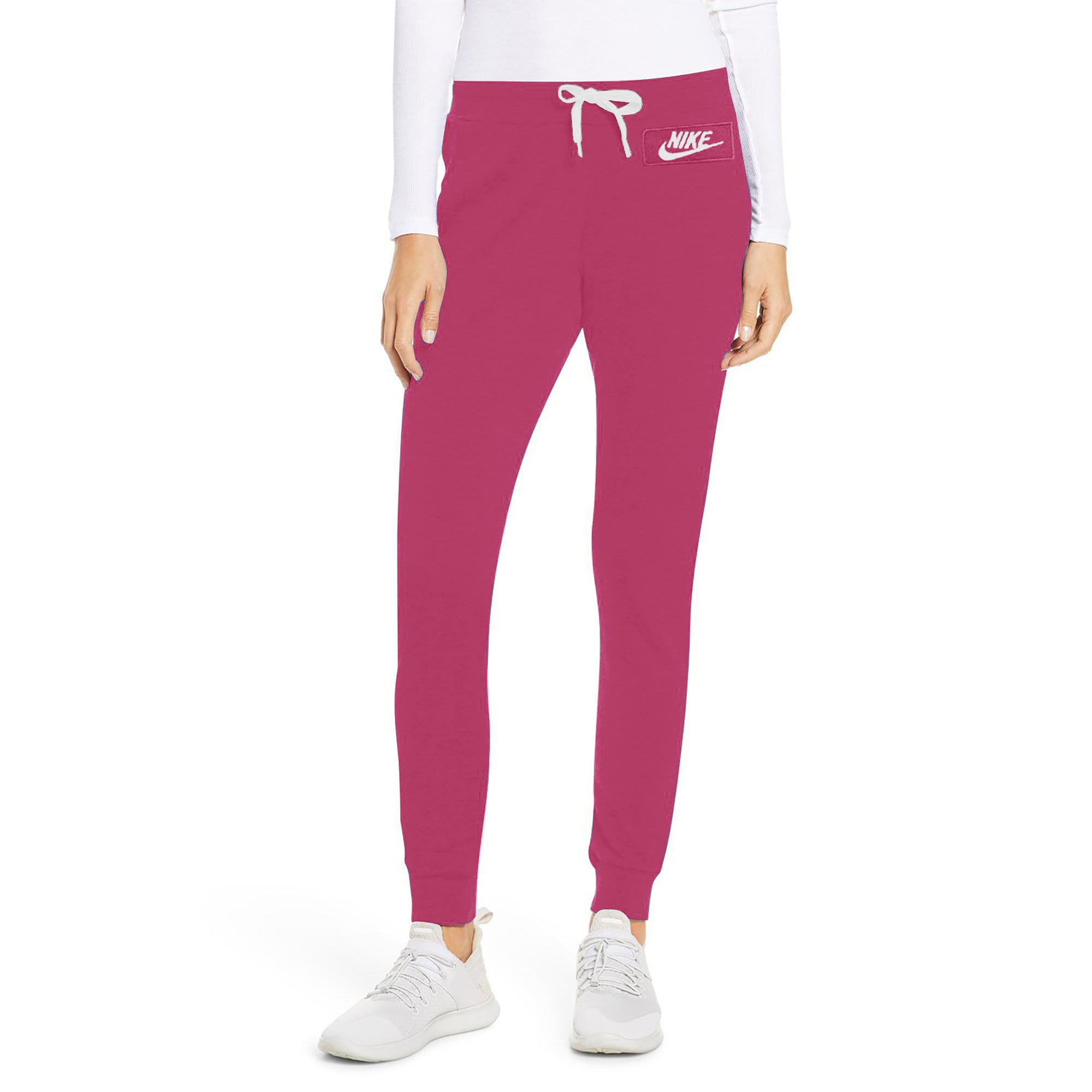 NK Fleece Slim Fit Pant Style Jogging Trouser For Ladies-Pink with White Embroidery-SP4331