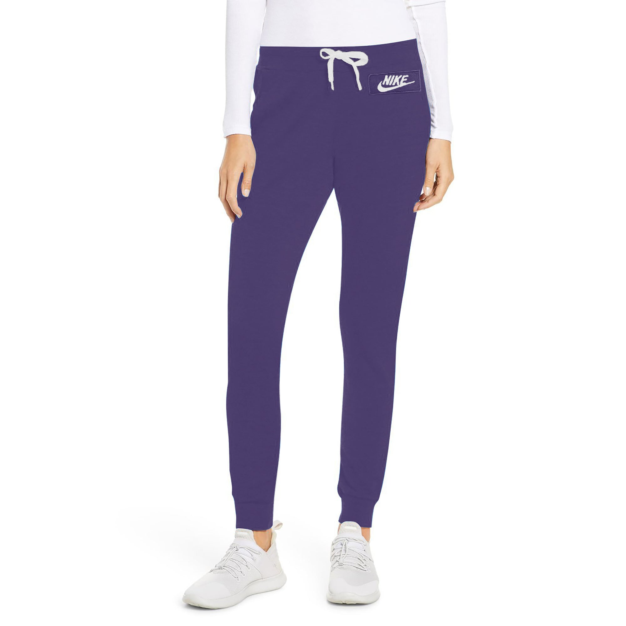 NK Fleece Slim Fit Pant Style Jogging Trouser For Ladies-Dark Purple with White Embroidery-SP4321