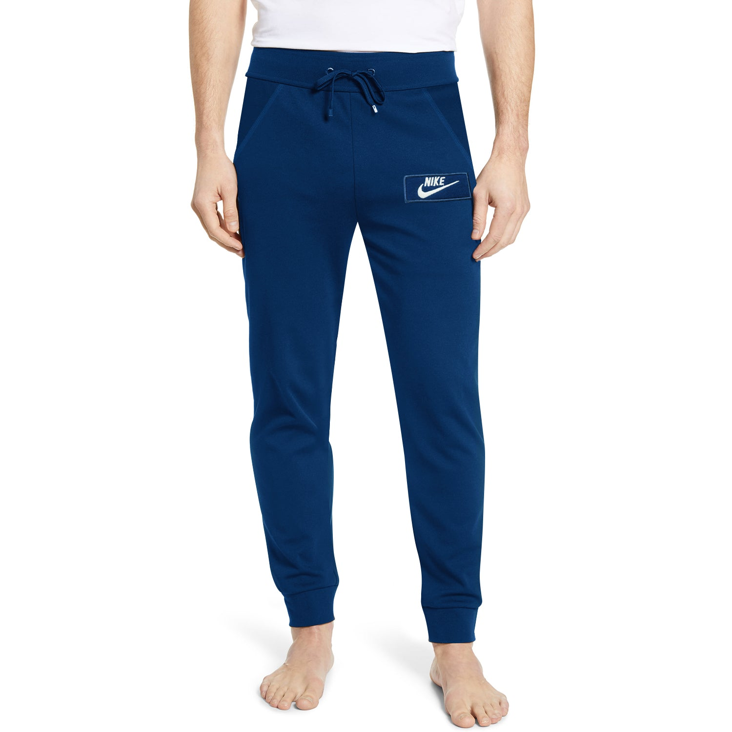 NK Fleece Slim Fit Pant Style Jogging Trouser For Men-Dark Blue with White Embroidery-BE12893