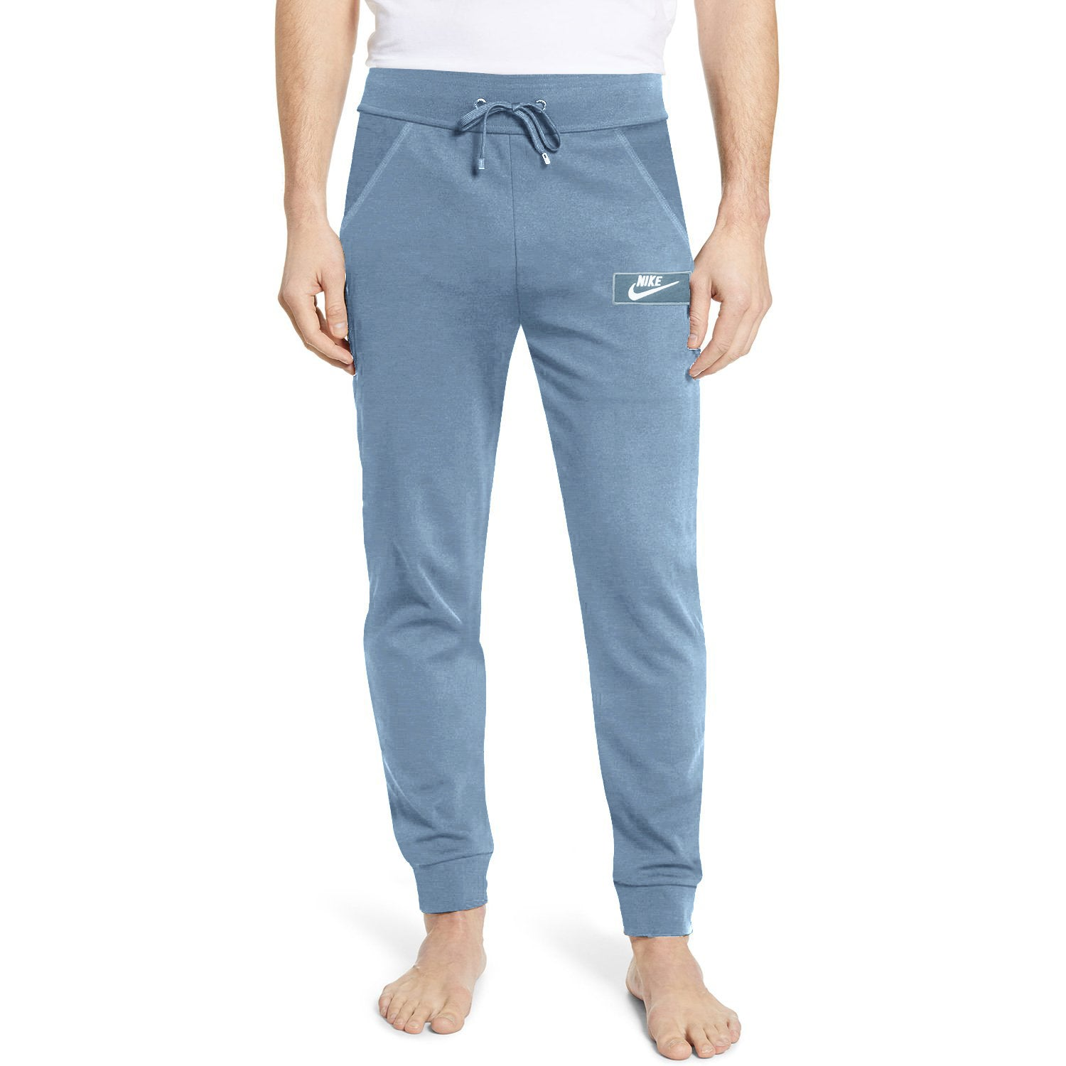 NK Summer Terry Slim Fit Trouser For Men-Steel Blue Melange With White Embroidery-SP4341
