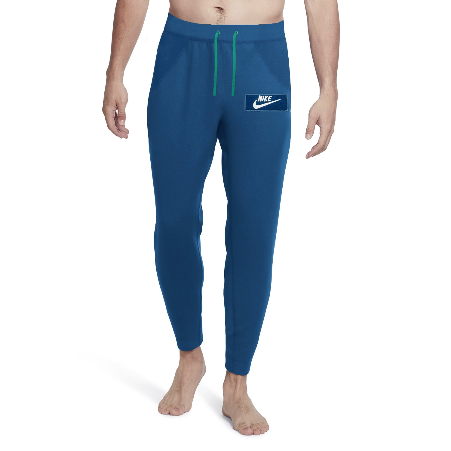 NK Fleece Slim Fit Pant Style Jogging Trouser For Men-Dark Blue with White Embroidery-BE12945