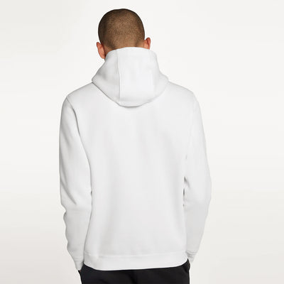 NK Fleece White & Navy Embroidery Pullover Hoodie For Men-White-BE10476