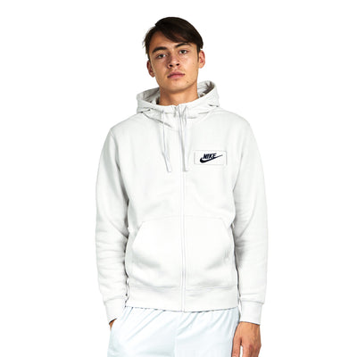 NK Fleece White with Navy Embroidery Zipper Hoodie For Men-White-BE10333