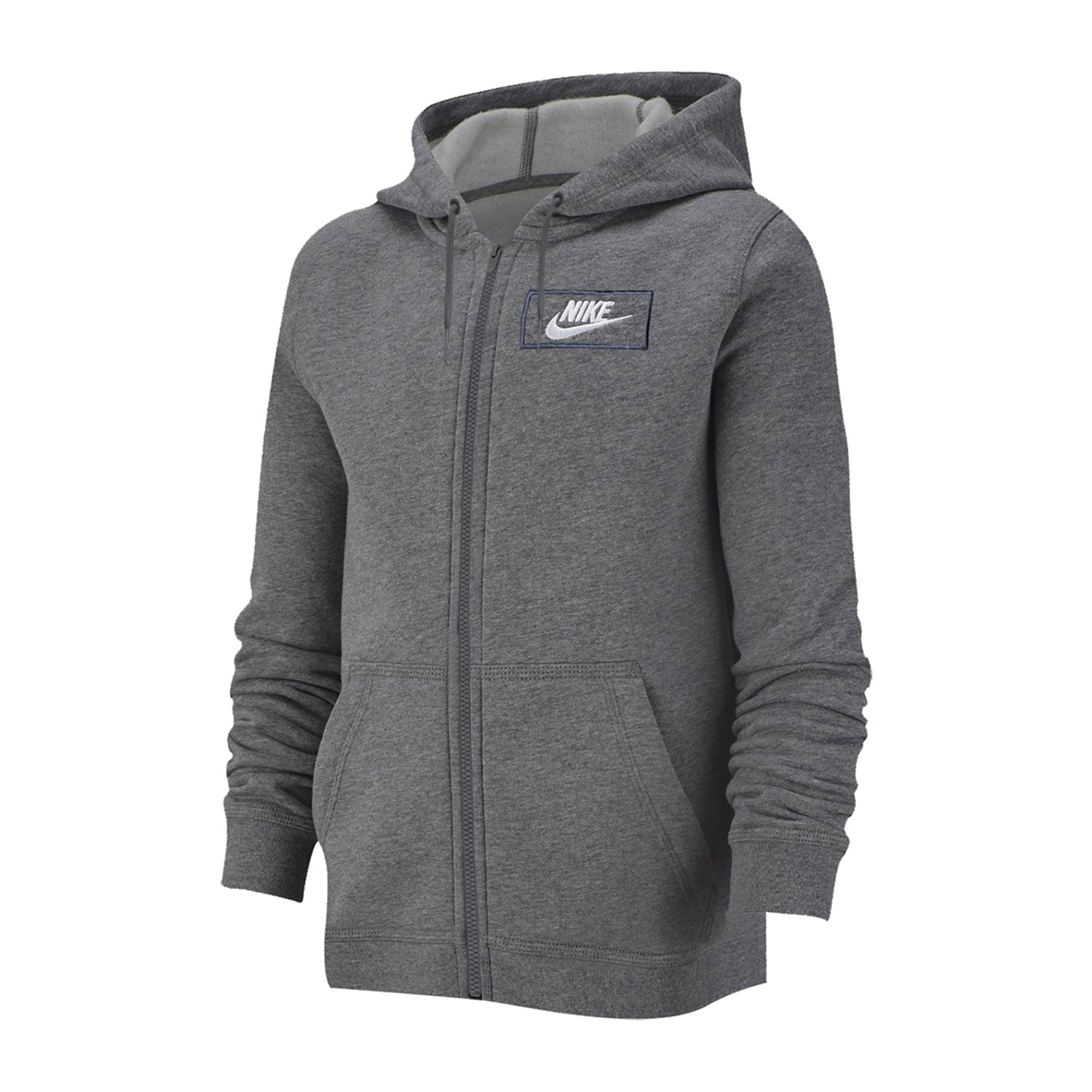 NK Fleece Zipper Hoodie For Men-Charcoal Melange with White Embroidery-BE12988