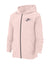 NK Fleece Zipper Hoodie For Men-Peach Melange with Navy Embroidery-BE14074