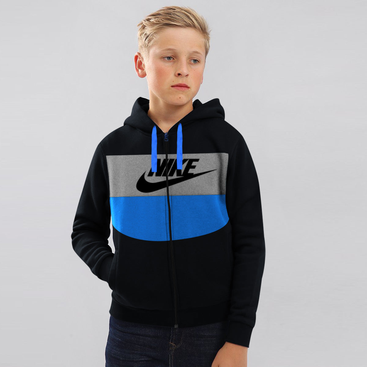 NK Slim Fit Stretchable Zipper Hoodie For Kids-Black with Cyan & Grey Panel-BE11020