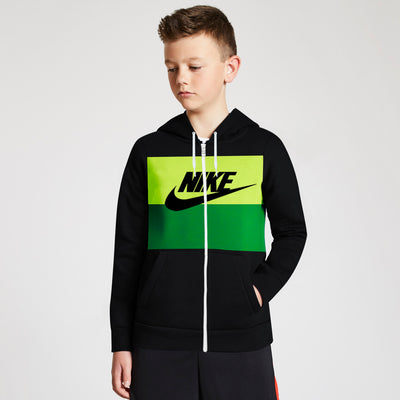 NK Slim Fit Stretchable Zipper Hoodie For Kids-Black with Lime Green & Green Panel-BE11099