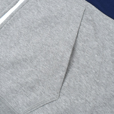 NK Slim Fit Stretchable Zipper Hoodie For Kids-Grey Melange with Dark Blue & Sky Panel-BE11021